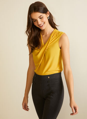 Twist Detail Sleeveless Top, Yellow,  fall winter 2020, top, blouse, sleeveless, v-neck, twist, crepe, made in canada