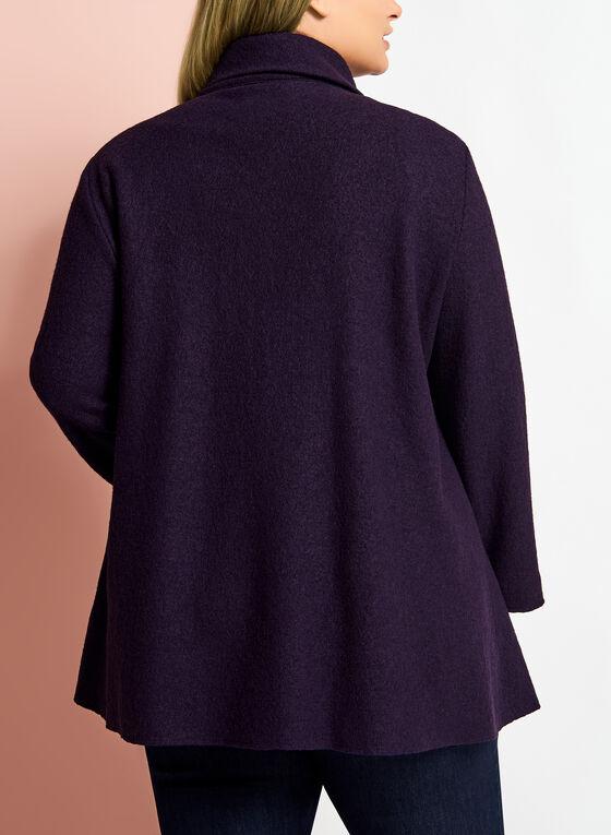 Funnel Neck Wool Blend Coat, Purple, hi-res