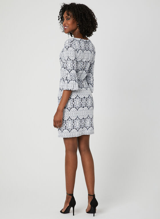 Medallion Print Shift Dress, Blue, hi-res
