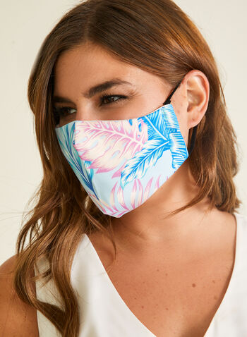 Leaf Print Mask With Filters, Blue,  mask, protective, reusable, washable, adjustable, breathable, comfortable, spring summer 2020