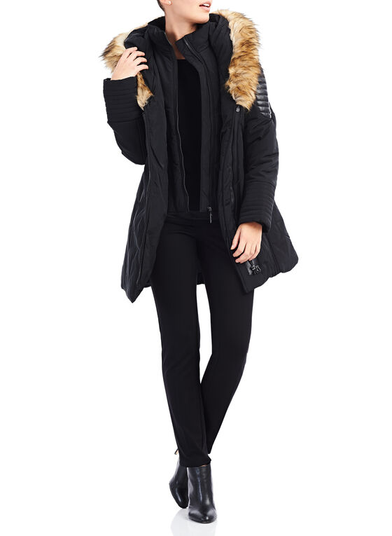 Faux Fur Polyfill Coat, Black, hi-res
