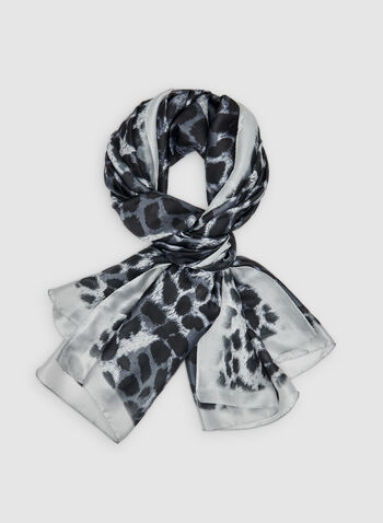Animal Print Scarf, Grey, hi-res,  leopard print, square scarf, fall 2019, winter 2019