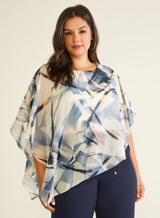 Abstract Print Poncho Blouse, White