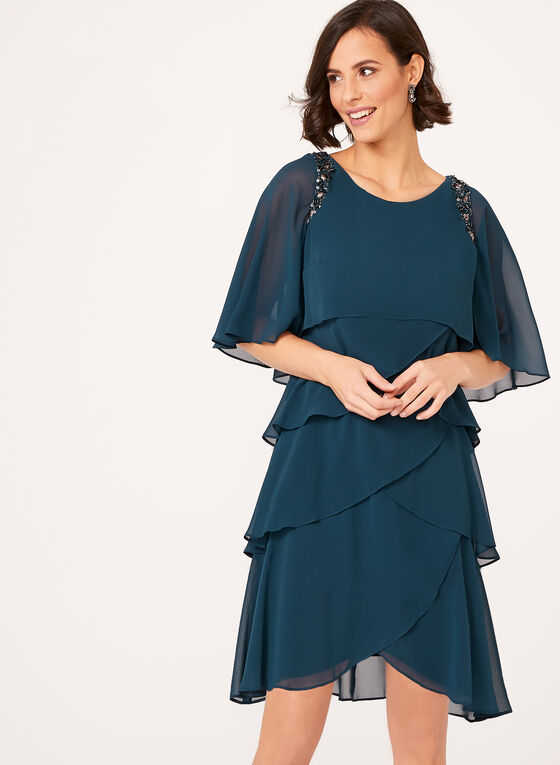 Embellished Tiered Flutter Sleeve Dress, Green, hi-res
