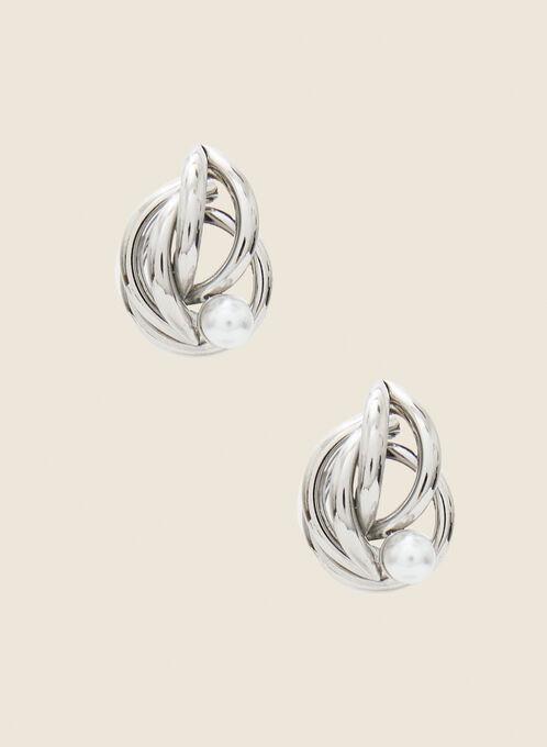 Intertwined Stud Earrings, Silver