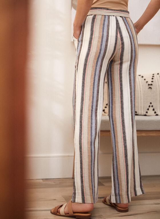 Charlie B - Pantalon en lin à rayures verticales, Multi