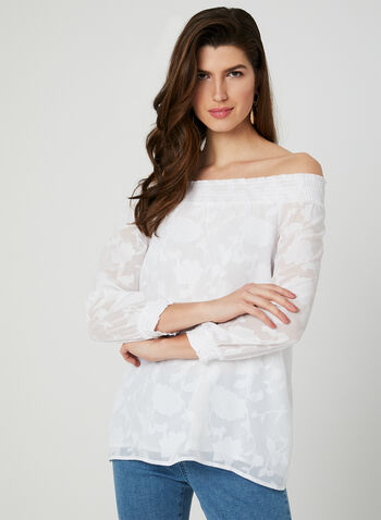 Off-the-Shoulder Blouse, White, hi-res,  floral print, chiffon, balloon sleeves, ¾ sleeves, spring 2019