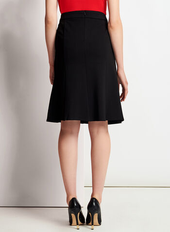A-Line Gored Ponte Skirt, Black, hi-res