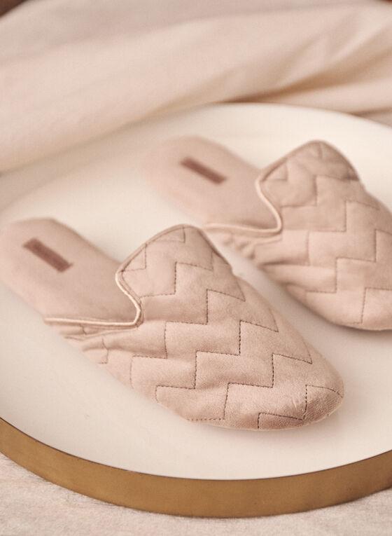 Pantoufles matelassées de style mule, Beige