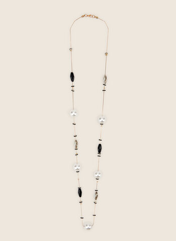 Long Pearl & Stone Necklace, Black,  necklace, long, pearls, stones, spring summer 2020