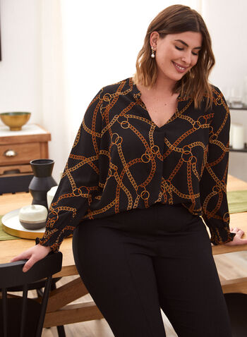 Chain Print Smocked Top, Black,  Fall winter 2020, blouse, chain print, smocked cuffs, puffed sleeves