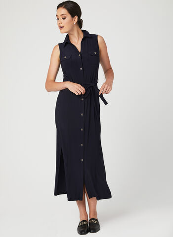 Nina Leonard - Sleeveless Button Down Dress, Blue, hi-res