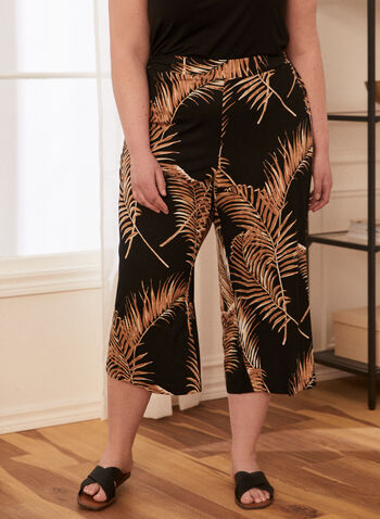 Tropical Print Gaucho Pants, Black,  gaucho, capris, tropical, pull-on, spring summer 2020