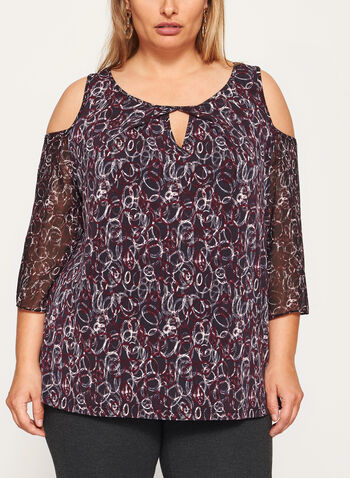 Abstract Print Cold Shoulder Top , , hi-res