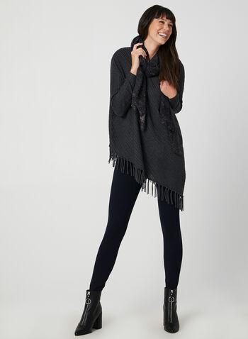 Pull asymétrique à ourlet frangé, Gris, hi-res,  frange, franges, texturé, laine, tricot fin, automne hiver 2019