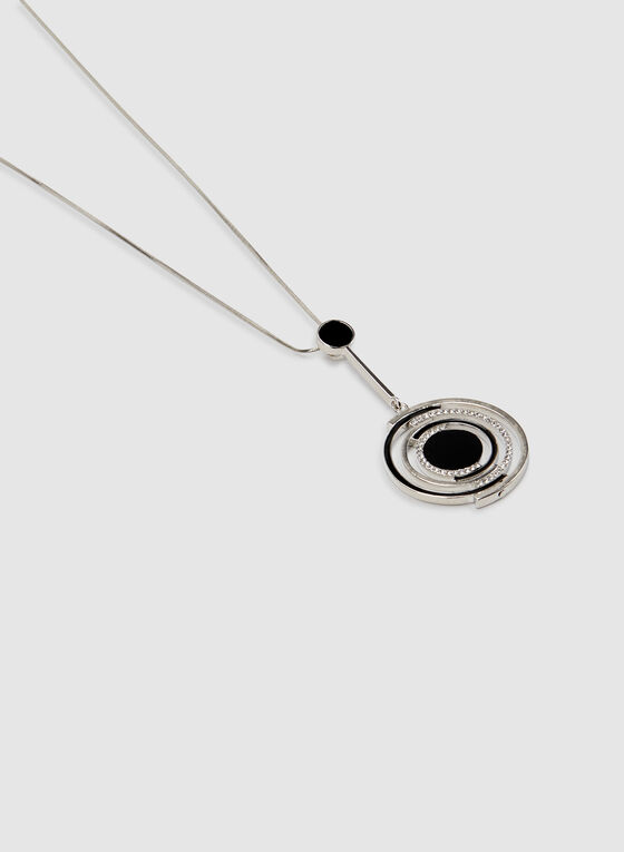 Circular Pendant Chain Necklace , Black