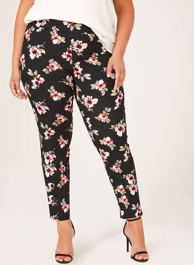 Floral Print Pull-On Slim Leg Pants