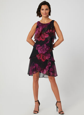 Floral Print Tiered Dress, Black, hi-res