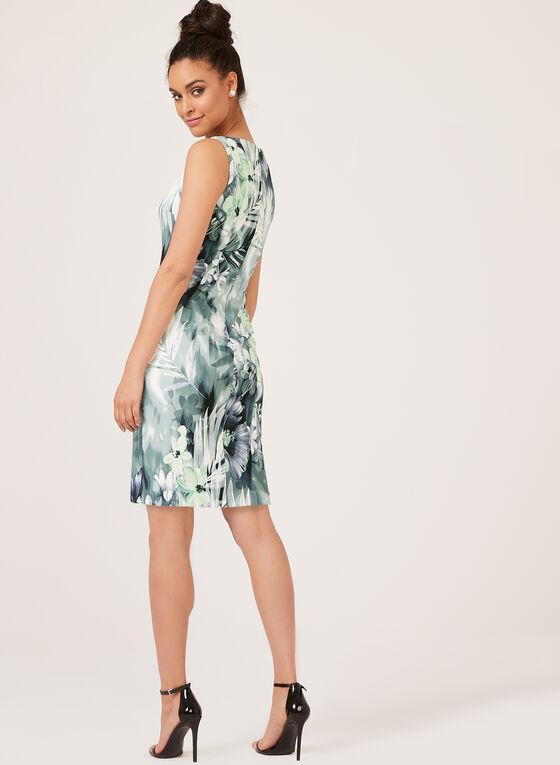 Floral Print Sleeveless Sheath Dress, Green, hi-res