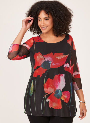 Floral Print Illusion Sleeve Tunic, Black, hi-res