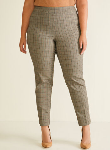 Tartan Print Straight Leg Pants, Brown,  pants, straight, pull-on, tartan, fall winter 2020