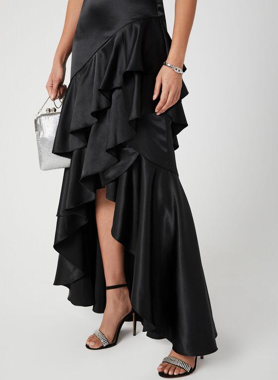 High-Low Ruffle Dress, Black, hi-res