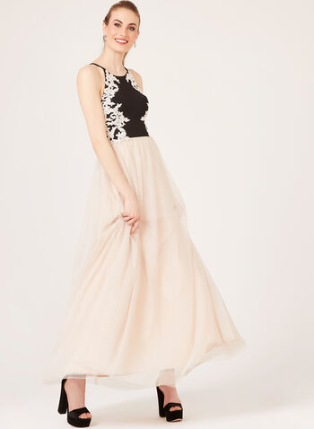 Embroidered Halter Mesh Tulle Gown, Off White, hi-res