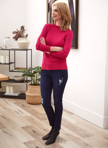 Ribbed Ruffled Neck Sweater, Purple,  fall winter 2020, sweater, top, knit, ribbed knit, textured knit, high collar, long sleeves, holiday