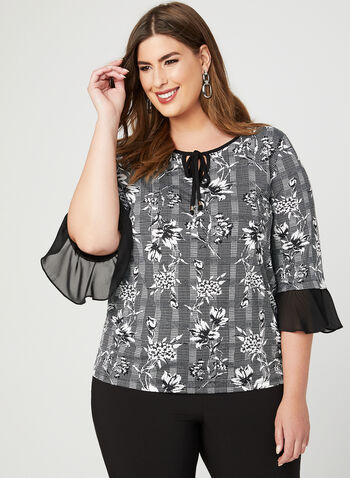 Ruffle Sleeve Jersey Top, Black, hi-res