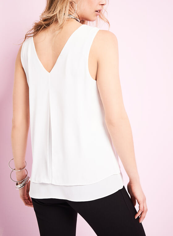 V-Neck Double Layer Blouse , Off White, hi-res