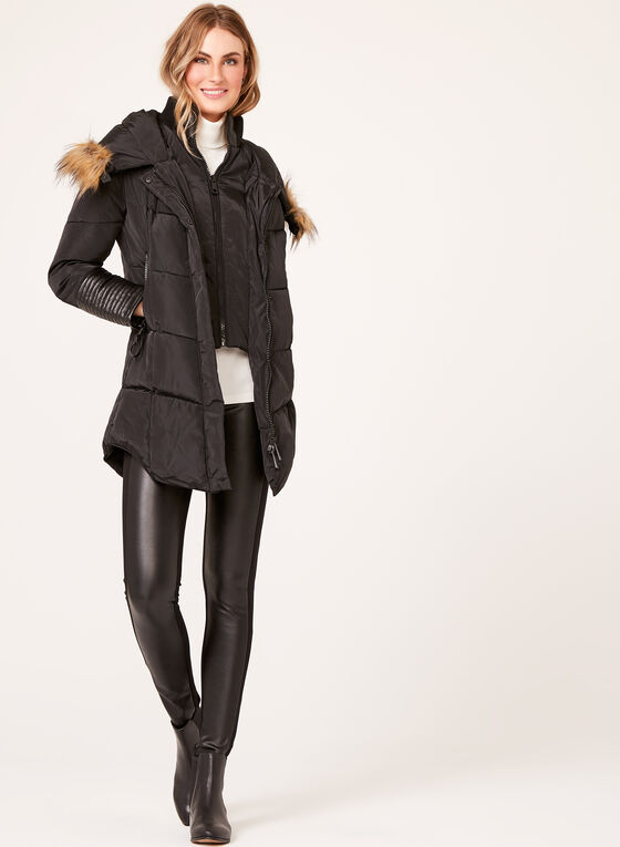 Ellabee - Faux-Leather Detail Coat , Black, hi-res