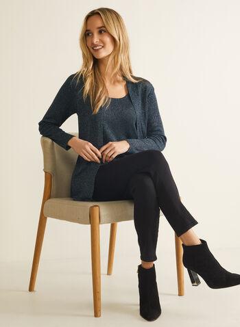 Metallic Knit Fooler Sweater, Multi,  fall winter 2020, two-piece effect, long sleeves, knit, sweater, metallic, fooler, holiday