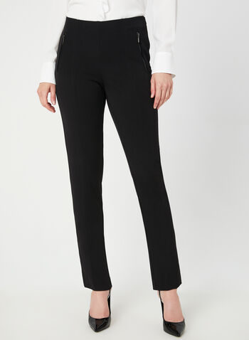 Pantalon coupe moderne longueur cheville, Noir, hi-res,  pantalon, moderne, jambe droite, poches zippées, automne hiver 2019