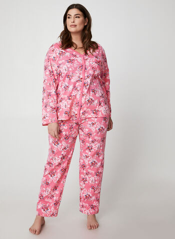Hamilton - Floral Print Pyjama Set, Pink,  pyjama, pants, top, floral, cotton, fall winter 2019