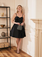 Corset Satin Dress, Black