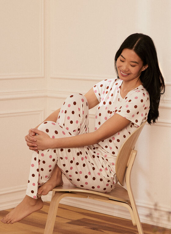 Polka Dot Pyjama Pants, White