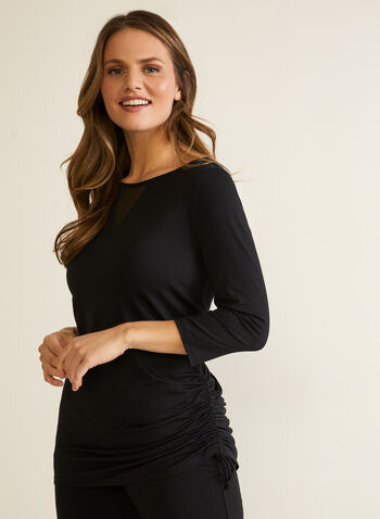 Ruched Detail Top, Black,  top, ruched, drawstring, 3/4 sleeves, illusion, fall winter 2020