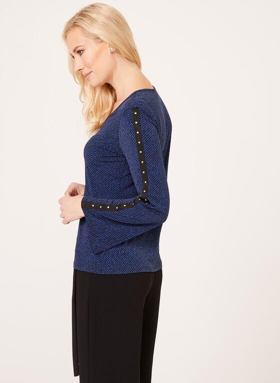 Blouse jersey imprimée à manches longues cloutées, Bleu, hi-res
