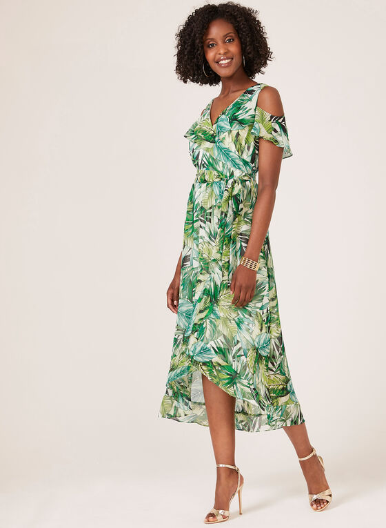 Cold Shoulder Faux Wrap Dress, Green, hi-res