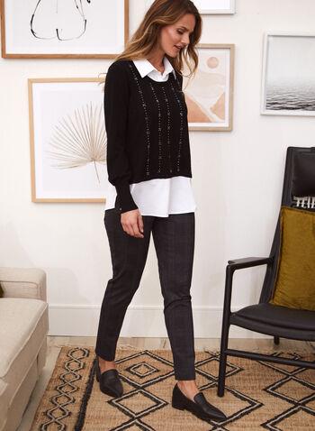 Long Sleeve Fooler Sweater, Black,  fall winter 2020, fooler, sweater, blouse, shirt collar, balloon sleeve, tunic, comfort, stretch, metallic, stud