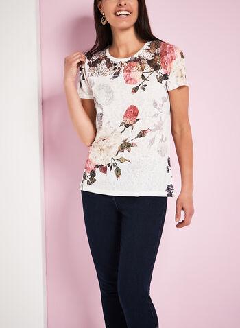 T-shirt à fleurs épaules en crochet, , hi-res