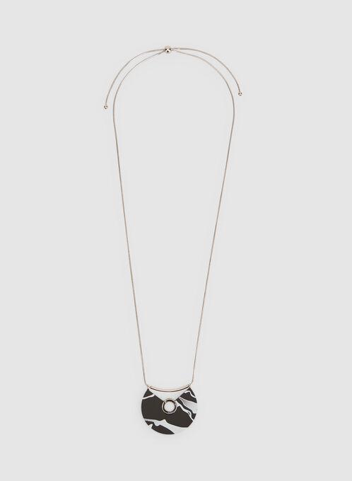 Marbleized Pendant Necklace, Black