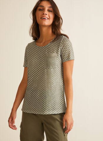 Polka Dot Print T-Shirt, Green,  t-shirt, polka dot, short sleeves, patch pocket, jersey, scoop neck, spring summer 2020