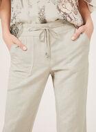 Pantalon coupe moderne à ourlet festonné et broderies, Brun, hi-res