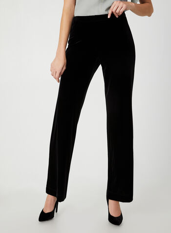 Modern Fit Velvet Pants, Black, hi-res,  Canada, pants, velvet, wide leg, Modern Fit, pull on, elastic waist, fall 2019, winter 2019