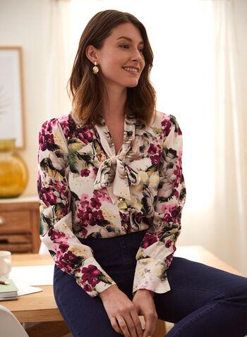 Blouse fleurie à col noué, Blanc,  haut, blouse, col noué, manches longues, boutons, motif floral, fleuri, automne 2021