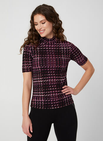 Houndstooth Print Top, Purple,  fall winter 2019, short sleeves, stretchy knit, mock neck