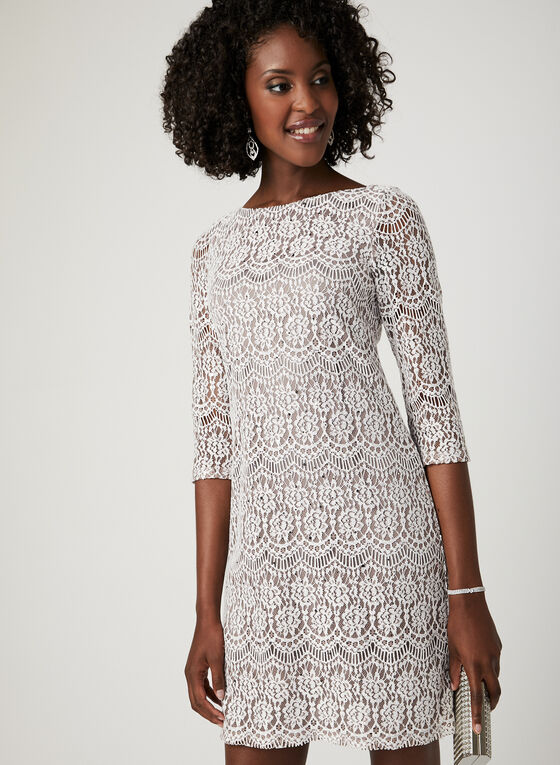 Lace Medallion Shift Dress, Brown