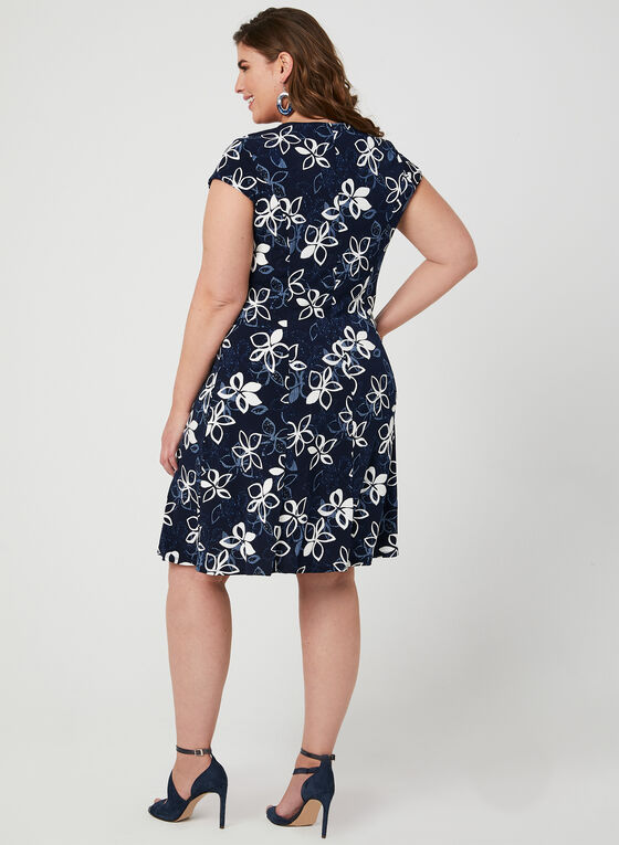 Robe fleurie en jersey texturé, Bleu