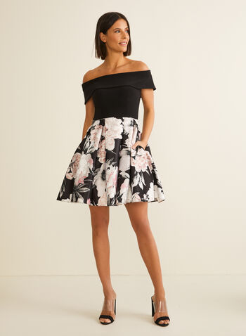 Flare Floral Print Dress, Black,  spring summer 2020, floral print, jersey bodice, off-the-shoulder neckline